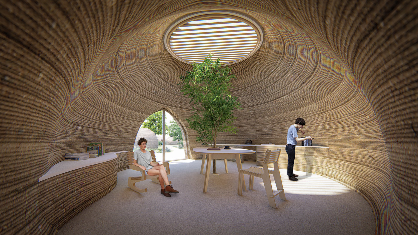 Tecla 3d printed earth house by Crane WASP daytime summer