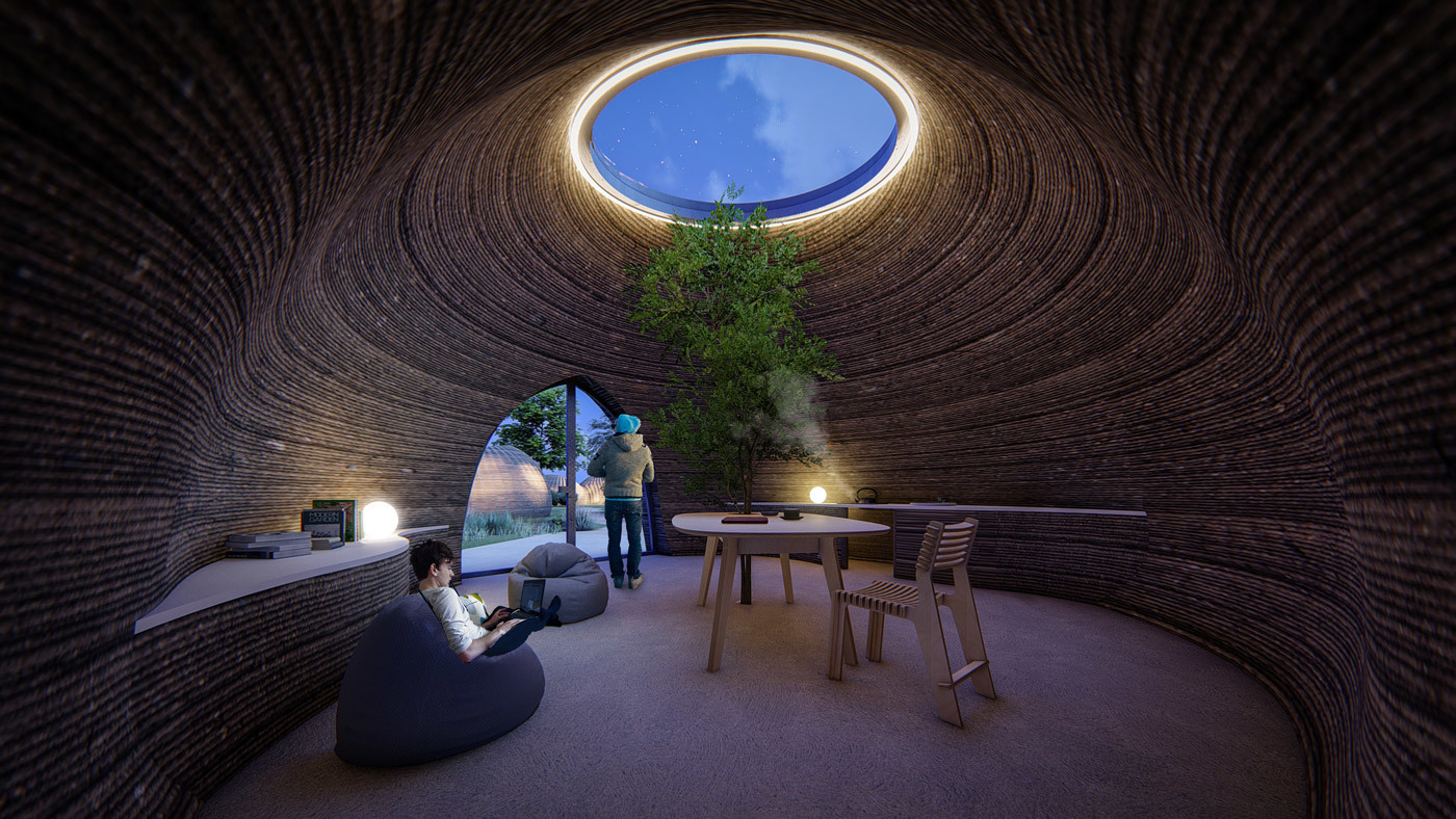 Tecla 3d printed earth house by Crane WASP living night